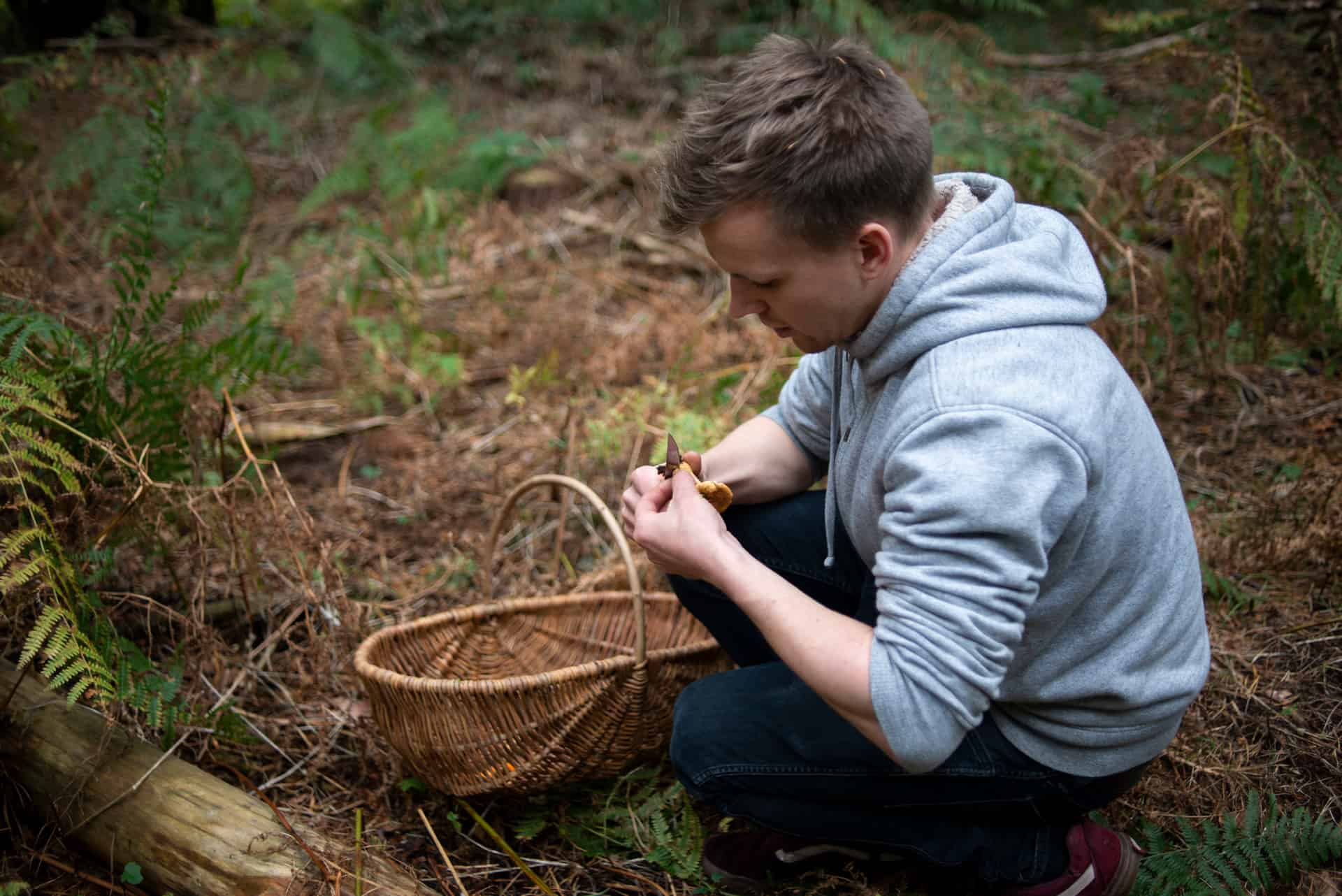 Foraging for mushroom - Documentary Photography by Chris King for Open Eye Media