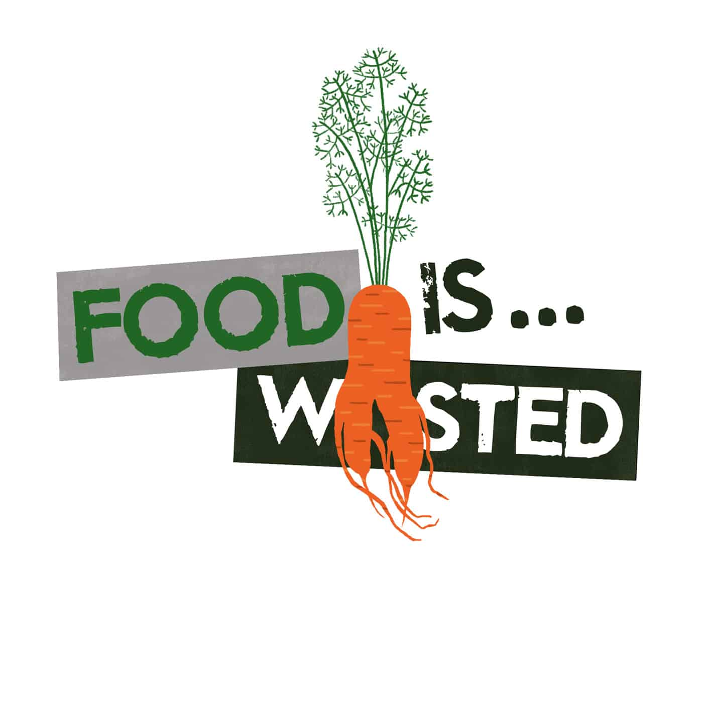 Food is Wasted logo - Podcast production by Open Eye Media